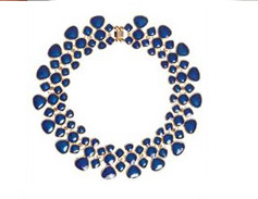 Paper Dolls Blue Enamel Droplet Collar Necklace