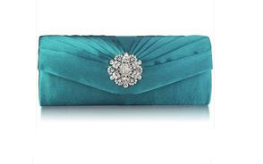 Crystal Flower Satin Clutch Bag
