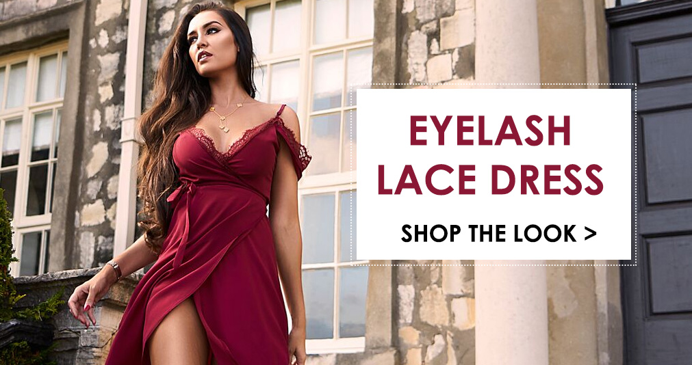 Shop the eyelash lace dress in aubergine