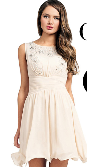 Little Mistress Embellished Keyhole Back Dress