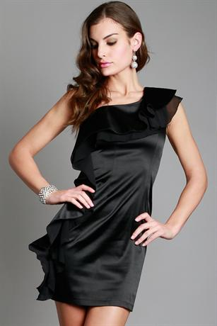 Side Frilled One Shoulder Dress