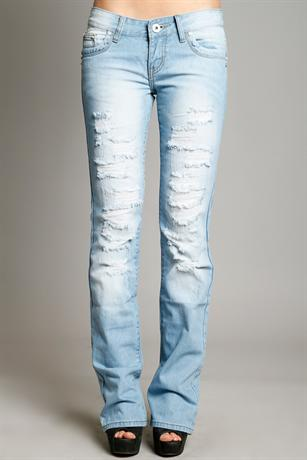 Narrow Leg Ripped Jeans