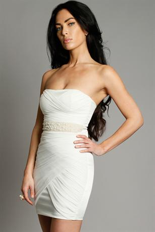 Pearl Waist Bandeau Dress