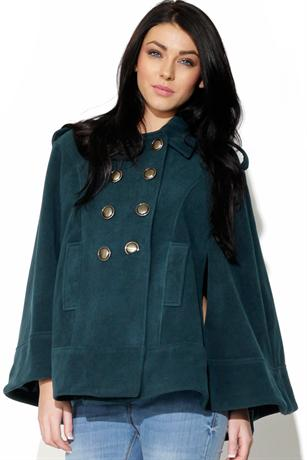 Teal Gold Button Cape