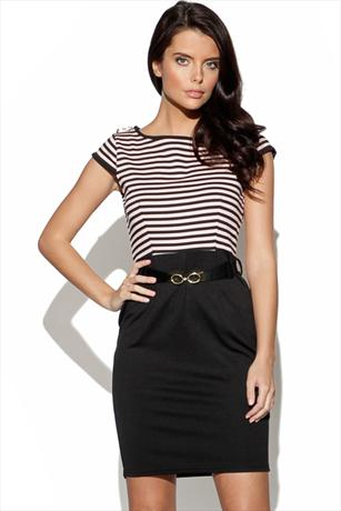 Little Mistress Contrast Stripe Dress