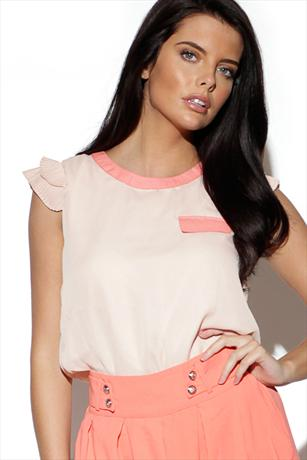 Contrast Frill Shoulder Top