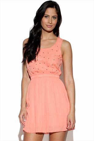 House Of Dereon Pleated Tank Dress