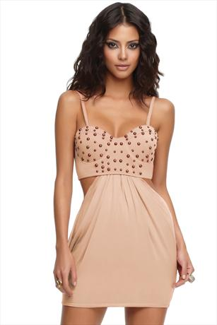 House Of Dereon Studded Bustier Dress