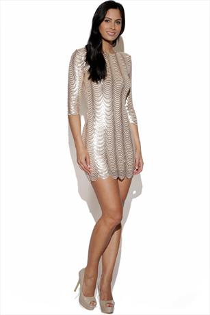 TFNC Scalloped Sequin Dress