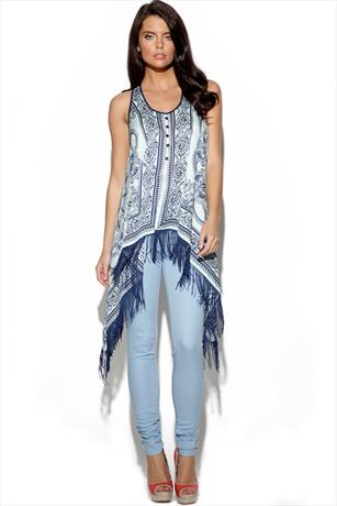 TFNC Scarf Print Fringed Top