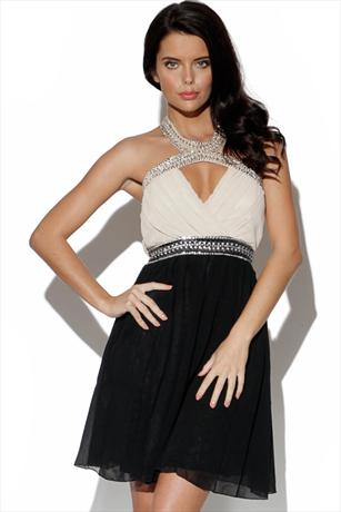 Little Mistress Embellished Halter Dress