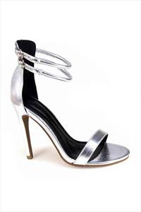 Metallic Silver Strappy Sandals