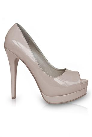 Nude Patent Peep Toe Pumps