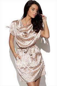 ICHI Draped Satin Finish Dress