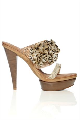 Leopard Flower Tan Sandals