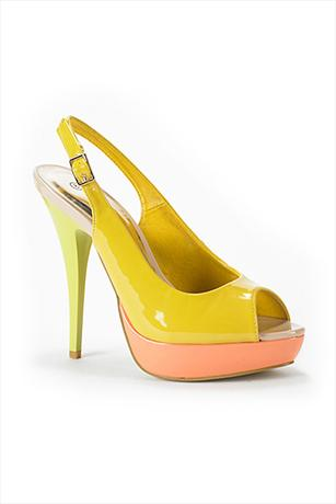 Colour Block Patent Peep Toe Platforms