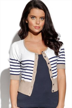 BYoung Contrast Striped Cardigan