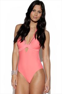 Halterneck Embellished Swimsuit