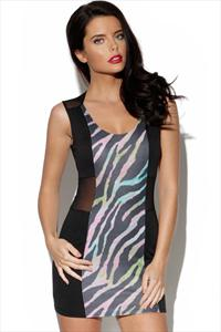 Oh My Love Zebra Mesh Dress