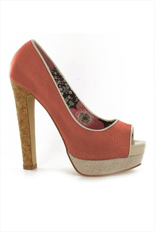 Peep Toe Cork Heel Pumps