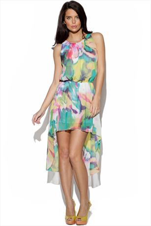 Tropical Print Chiffon Dipped Hem Dress
