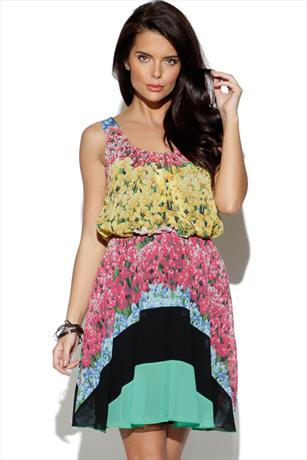Rainbow Stripe Flower Print Dress