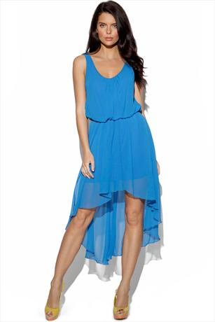 Pleat Neck Dipped Hem Dress