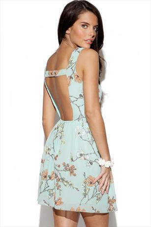 Blossom Print Cut Out Back Dress