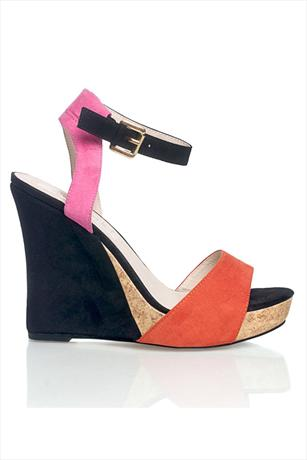 Colour Block Ankle Strap Wedge