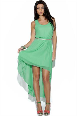 Belted Dipped Hem Dress