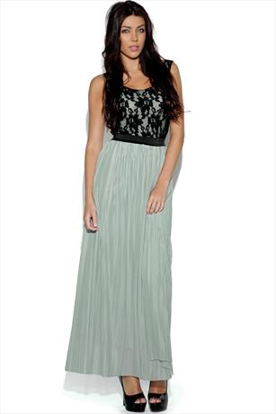 Lace Top Pleated Maxi Skirt Dress
