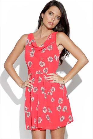 Coral Floral Print Chiffon Dress