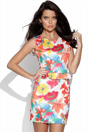 Floral Print Peplum Dress
