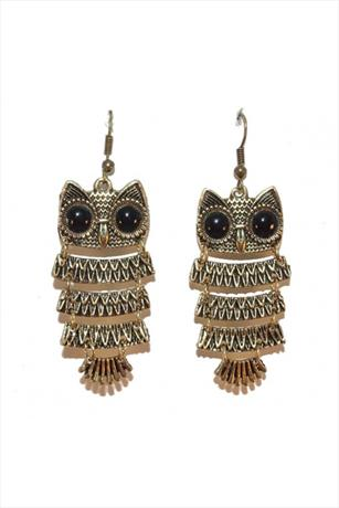 Celebrity Style Gold Owl Earrings