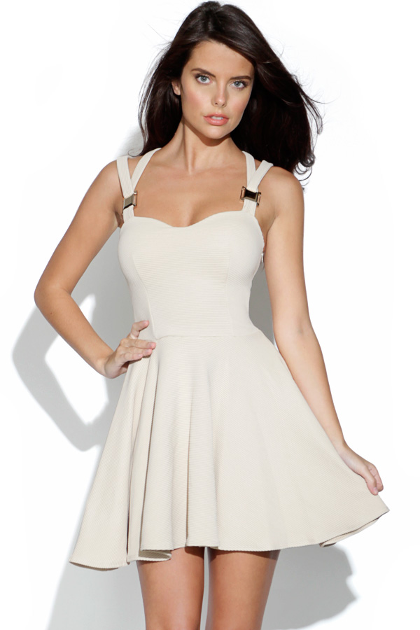 Cut Out Ribbed Skater Dress