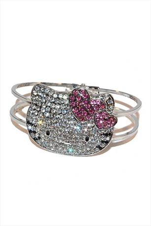 Hello Kitty Pink Heart Diamante Bangle