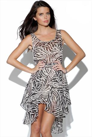 Sheer Zebra Print Dipped Hem Dress