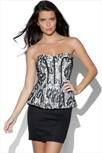 TFNC Lace Bandeau Peplum Dress