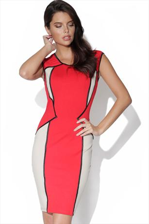 Little Mistress Red Panel Bodycon Dress