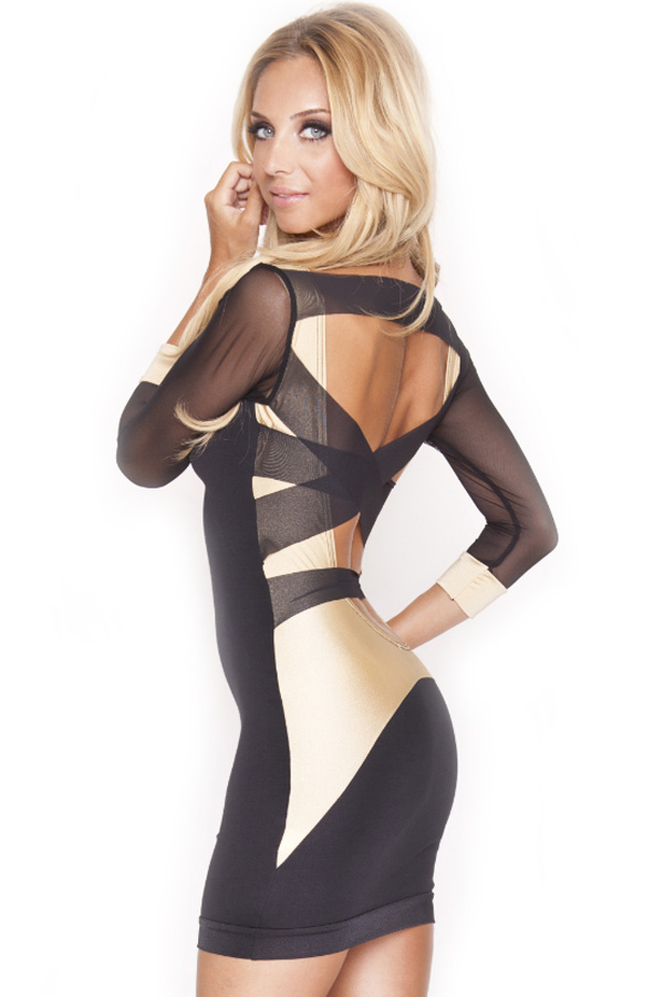 Quontum Black and Gold Mesh Back Dress