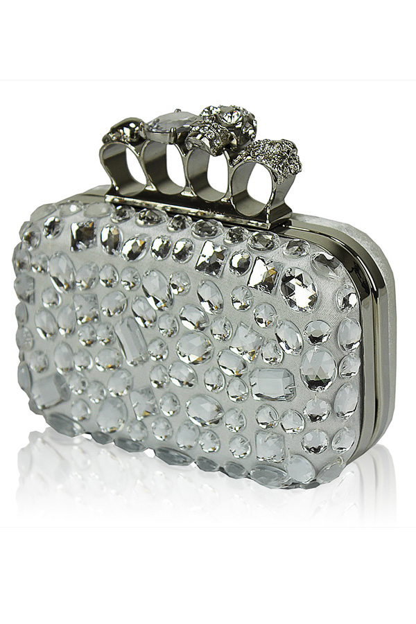 Embellished Satin Box Clutch