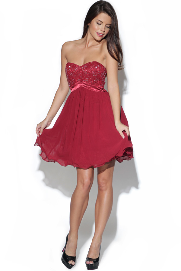 Little Mistress Burgundy Embellished Bust Dress