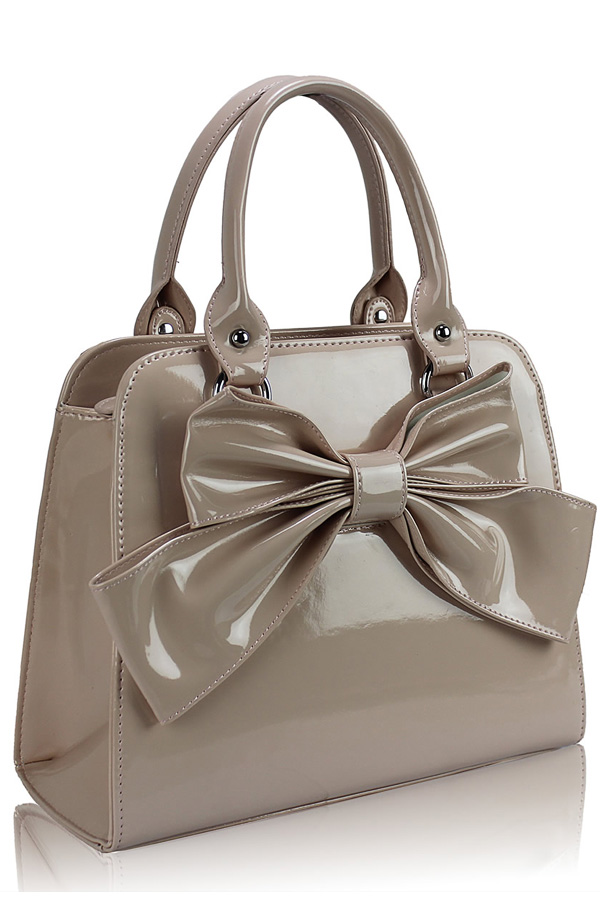 Patent Bow Tote Bag
