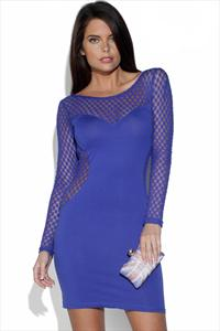 Blue Dot Mesh Sleeve Dress