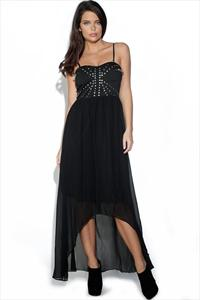 Union Studded Sheer Black Dress