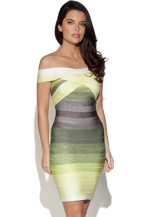 Off Shoulder Green Gradient Bandage Dress