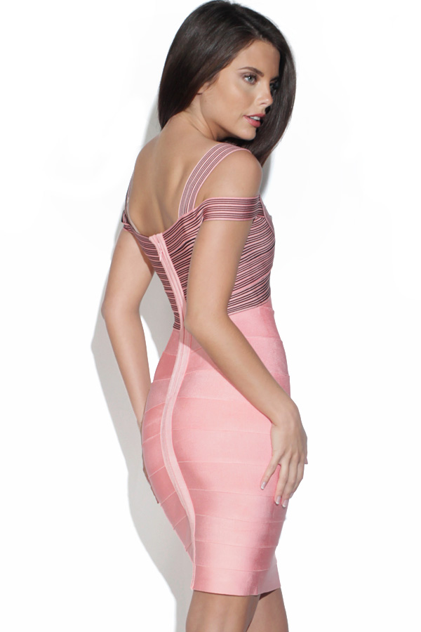Pink Cross Over Detail Body Con Dress