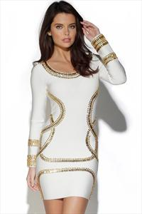 White and Gold Crystal Embellished Dress