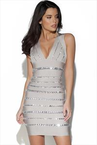 Crystal Embellished Bandage Dress