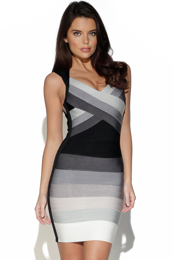 Grey and Black Gradient Bandage Dress